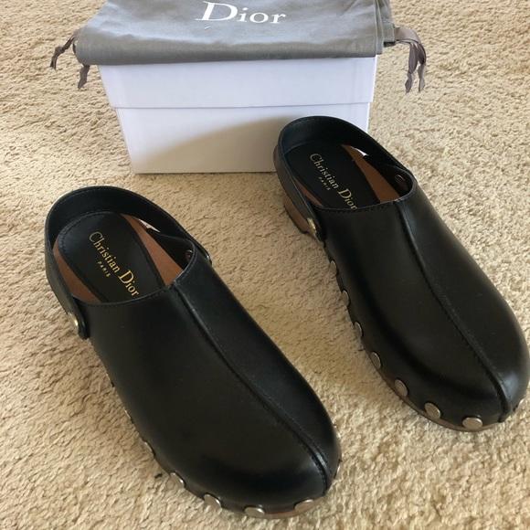 86b1e33e56a Dior Diorquake Leather Clogs sz 7.5 Brand New!